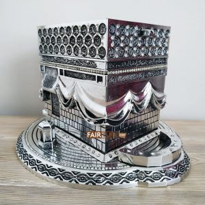 X-Large Size 3D Kaaba Design Islamic Gift In Silver Color