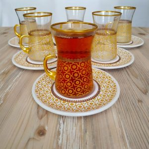 Bohem Gold Color Arabic Tea Set With Holder