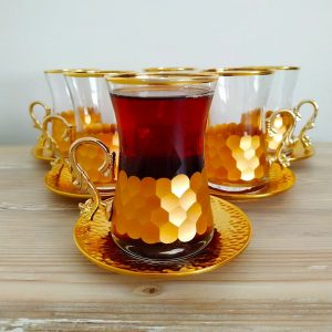 Luxury Gold Color Turkish Tea Set With Holder