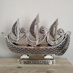 Boat Design X- Large Silver Color 3 Different Surah Carved Islamic Table Decor