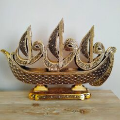 Boat Design X- Large Gold Color 3 Different Surah Carved Islamic Table Decor