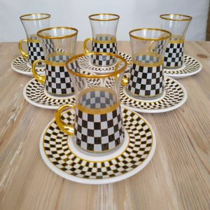 Check Pattern Turkish Tea Set With Holder