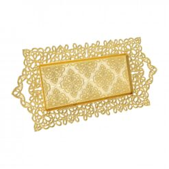Bowtie Gold Color Serving Tray For 2 Glasses