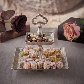Desire Two Tier Oval Silver Cookie Serving Tray