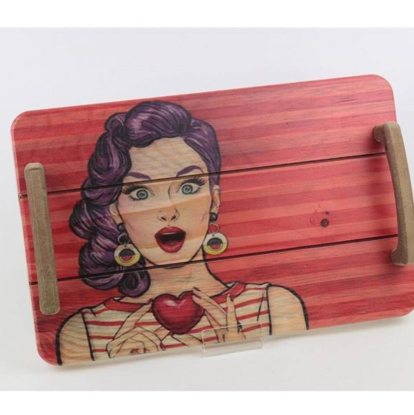 Pine Wooden Loved Girl Printed Serving Tray