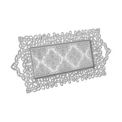 Bowtie Silver Color Serving Tray For 2 Glasses