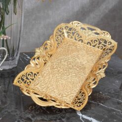 Gold Color Rectangle Fruit Serving Tray