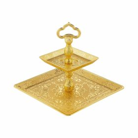 Desire Two Tier Oval Gold Color Cookie Serving Tray