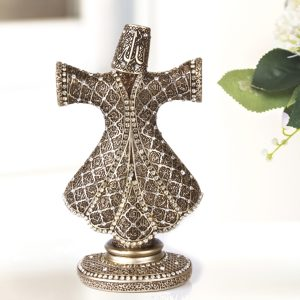 Tulip Design Kaaba Graved Islamic Table Gift In Silver Color