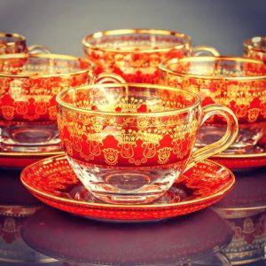 Sumeyye Red Large Coffee Mugs-Tea Glasses