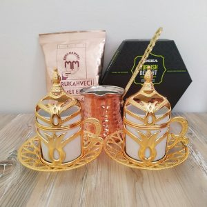 Gold Color Turkish Gift Box With Pistachio Turkish Delight