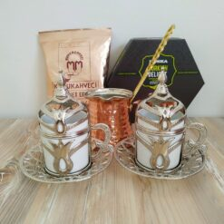 Silver Color Turkish Gift Box With Pistachio Turkish Delight