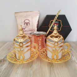 Gold Color Turkish Gift Box With Rose - Lemon Turkish Delight