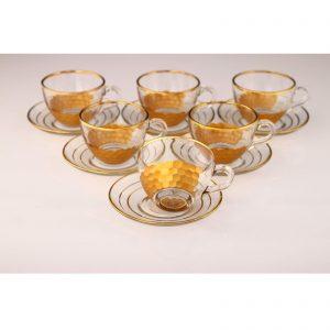 Large Honeycomb Gold Color Coffee Mugs-Tea Glasses