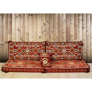Zeugma Arabic Floor Seating Red Moroccan Sofa Set