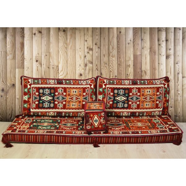 Bergama Arabic Floor Seating Red Turkish Sofa Set