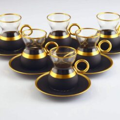 12 Pcs Vegetable Dyed Black Color Turkish Tea Set With Holder