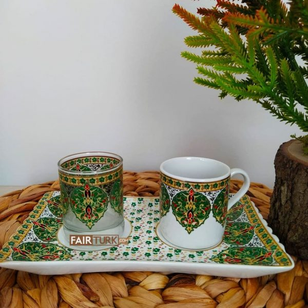 Green Color Hand Painted Coffee Set For One Person