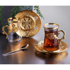 Gold Color Safa Tea Cups Set For 6 Person