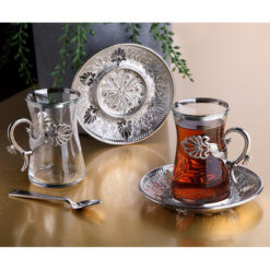 Silver Color Safa Tea Cups Set For 6 Person