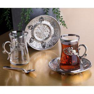 Silver Color Safa Tea Cups Set For 6 Person