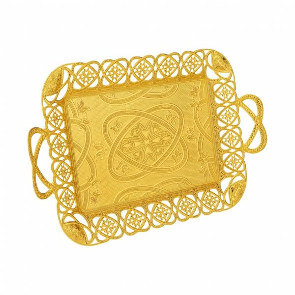 New Ottoman Gold Color Tea Serving Tray
