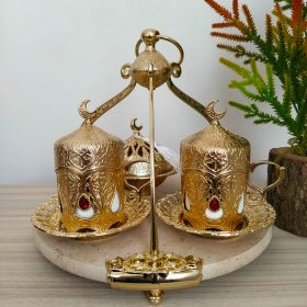 Gold Color Marble Tray Coffee Serving Set With Hanger