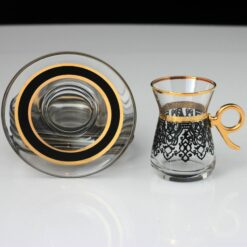 Ilayda Black Color Turkish Tea Set With Holder