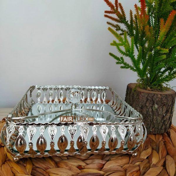 Silver Color Mirror Napkin Holder