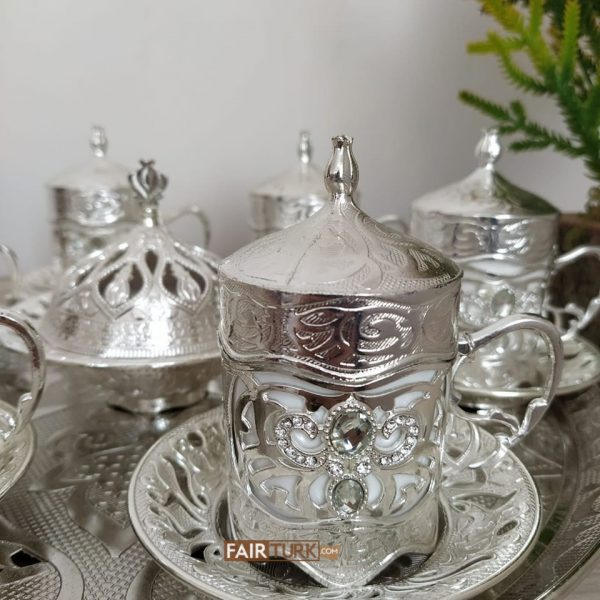 Payidar Silver Color Coffee Cups Set With Stones