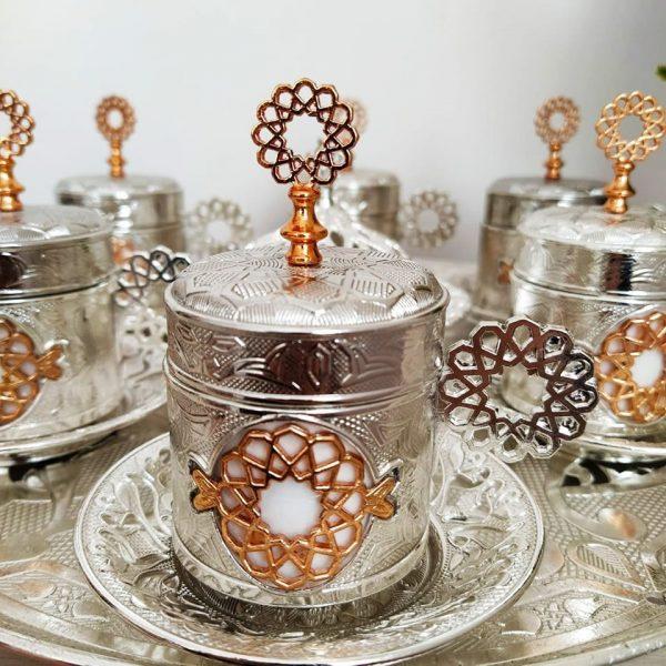 Seljuk Silver Color Metal Coffee Cups Set