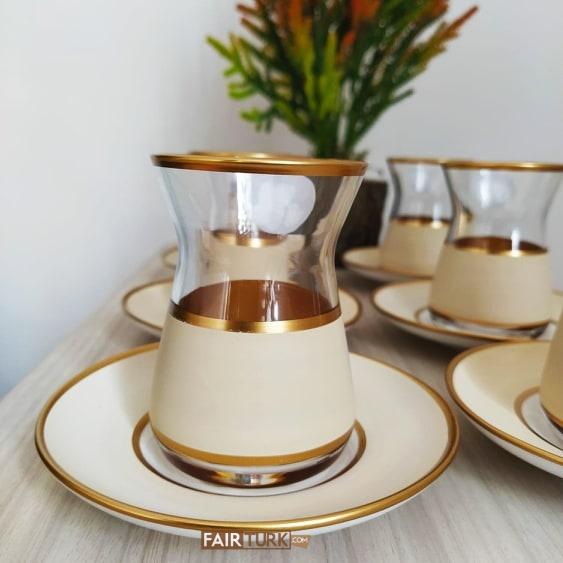 Vegetable Dyed Cream Color Turkish Tea Set