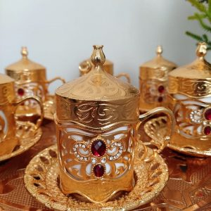 Payidar Gold Coffee Cups Set With Red Stones