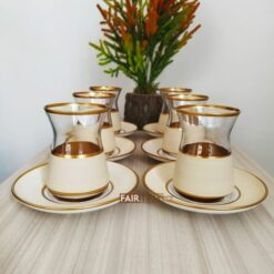 Vegetable Dyed Cream Color Turkish Tea Set
