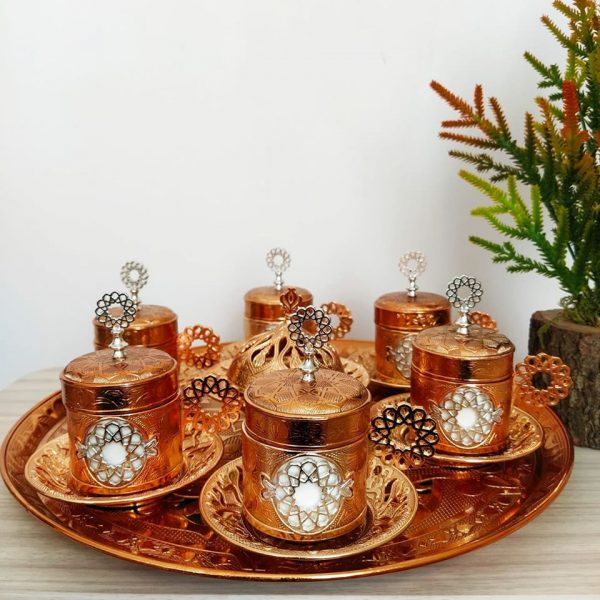 Seljuk Gold Color Metal Coffee Cups Set