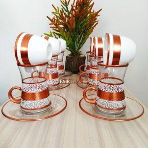 18 Pcs Copper Color Tea Set With Coffee Cups