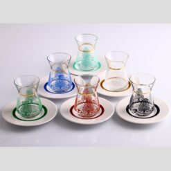 12 Pcs Six Colors Thin Waist Tea Set