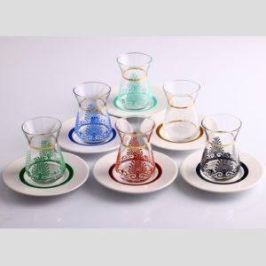 12 Pcs Six Colors Thin Waist Tea Set
