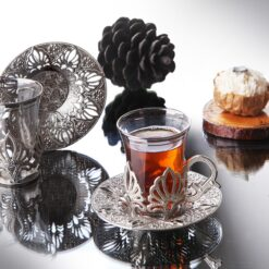 2020 Latest Collection Ahu Silver Color Turkish Tea Cups Set