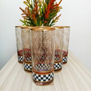Check Design Long Beverage- Water Glasses Set