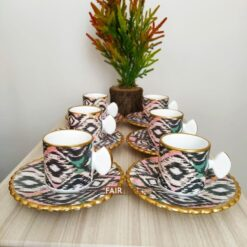 Asya Ceramic Ikat Design Coffee Set For Six
