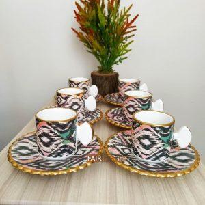 Asya Ceramic Ikat Design Coffee Set For Six