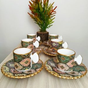 Anatolia Ceramic Kilim Design Coffee Set For Six