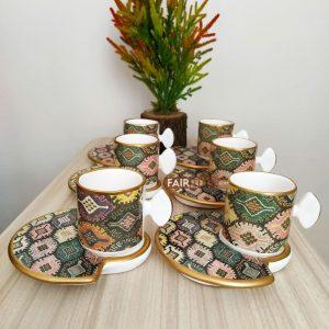 Half Moon Ceramic Kilim Design Coffee Set For Six