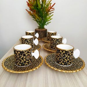 Black - Gold Ceramic Coffee Set For Six