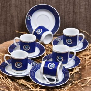 Kütahya Porcelain Evil Eye Design Coffee Set For Six Person