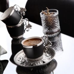 Vegatable Dyed Luxury Silver Color Coffee Set