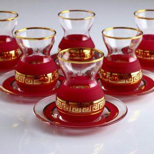 12 Pcs Organic Dyed Red Color Turkish Tea Set