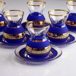 12 Pcs Organic Dyed Blue Color Turkish Tea Set