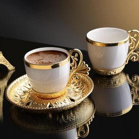 Gold Color Cream Porcelain Luxury Coffee Set